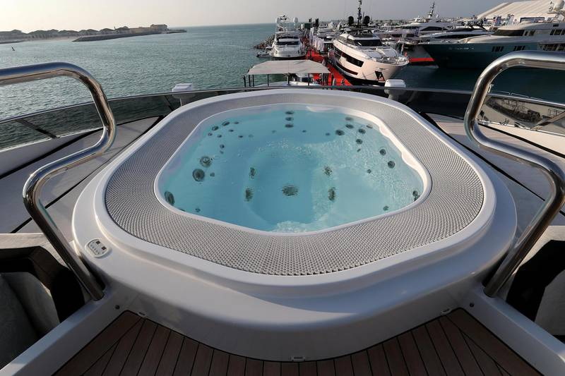 DUBAI , UNITED ARAB EMIRATES , February 26 – 2019 :- Jacuzzi on the Rocket Yacht which is on display at the Dubai International Boat Show held in Dubai. ( Pawan Singh / The National ) For Lifestyle. Story by Sophie