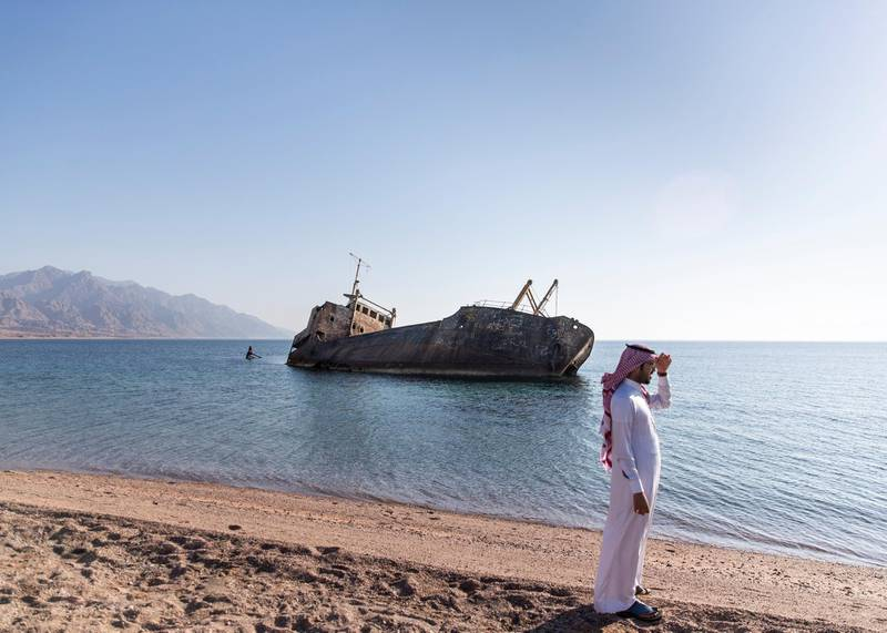 TABUK, KINGDOM OF SAUDI ARABIA. 30 SEPTEMBER 2019. Safinat Haql on the Gulf of Aqabah. 50 kilometers south of the city of Haql, the shipwreck lays.This vessel was built in England after the end of the Second World War, it was launched in 1958 as a cargo liner and at the time of its doomed trip it was carrying a cargo of flour and was owned by the Saudi businessman Amer Mohamad al Sanousi who had purchased the vessel shortly before the accident.(Photo: Reem Mohammed/The National)Reporter:Section: