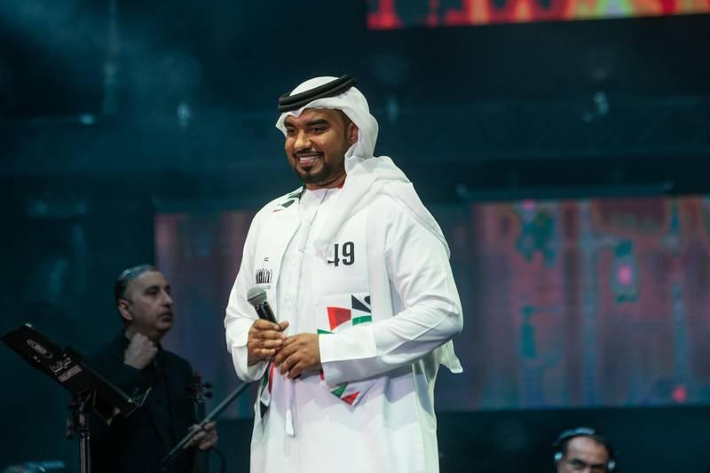 Emirati singer Faisal Al Jasim performs at the 49th National Day show at Al Majaz Amphitheatre in Sharjah, December 3. Wam