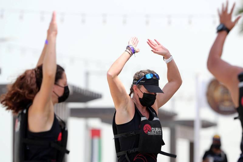 Dubai, United Arab Emirates - Reporter: Sophie Prideaux. Features. Dragon boat racing tournament in Dubai at the Waterfront Market. Saturday, 3rd, 2021. Dubai. Chris Whiteoak / The National