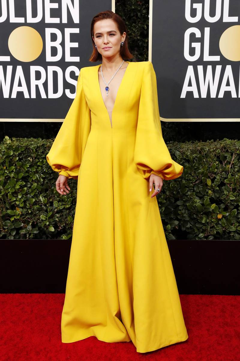 epa08106653 Zoey Deutch arrives for the 77th annual Golden Globe Awards ceremony at the Beverly Hilton Hotel, in Beverly Hills, California, USA, 05 January 2020.  EPA-EFE/NINA PROMMER