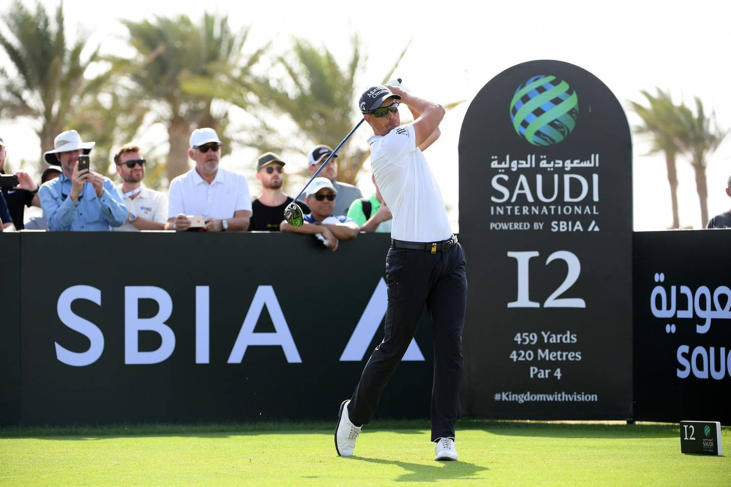 KING ABDULLAH ECONOMIC CITY, SAUDI ARABIA - FEBRUARY 01:  Henrik Stenson of Sweden tees off on the 12th hole during Day two of the Saudi International at the Royal Greens Golf & Country Club on February 01, 2019 in King Abdullah Economic City, Saudi Arabia. (Photo by Ross Kinnaird/Getty Images)