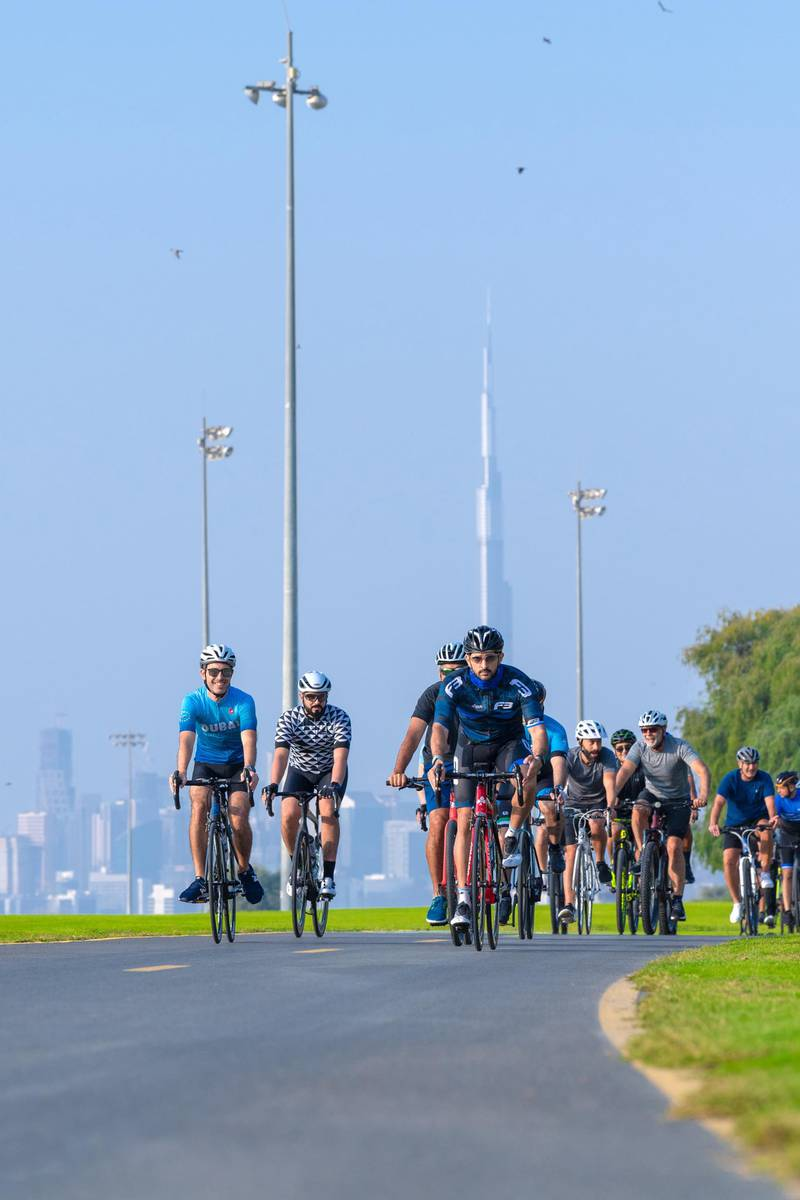 DUBAI, 15th November, 2020 (WAM) -- His Highness Sheikh Hamdan bin Mohammed bin Rashid Al Maktoum, Dubai Crown Prince and Chairman of the Executive Council of Dubai, today met with leaders of major global companies operating in Dubai on the sidelines of a corporate cycling trial for the Dubai Fitness Challenge (DFC) 2020, and joined them on a 20 km cycling tour of the Nad Al Sheba Sports Complex. The meeting underscores Dubai's strong ties with major international companies across sectors. Wam