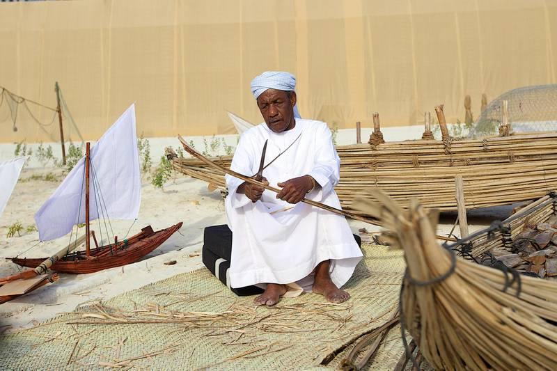 Handout photos for the Qasr Al Hosn Festival in Abu Dhabi, 2014 - boat making CREDIT: Courtesy Qasr Al Hosn