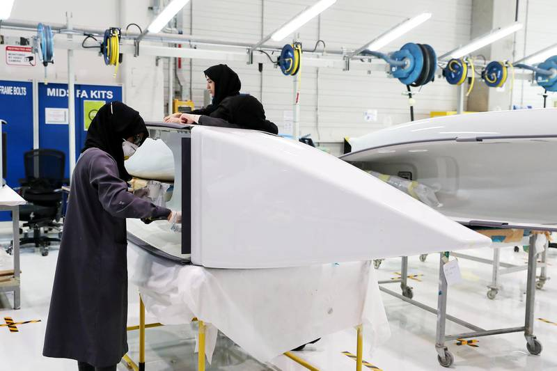 AL AIN , UNITED ARAB EMIRATES , JULY 2 – 2018 :- Workers working on the parts for Airbus and Boeing in the Assembly section at the Strata Manufacturing facility in Al Ain. ( Pawan Singh / The National )  For News. Story by John Dennehy