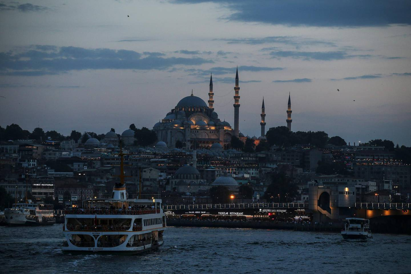 This photo shows a view of Istanbul's skyline with the Suleymaniye Mosque, in the background, Saturday June 22, 2019. (AP Photo/ Emrah Gurel)