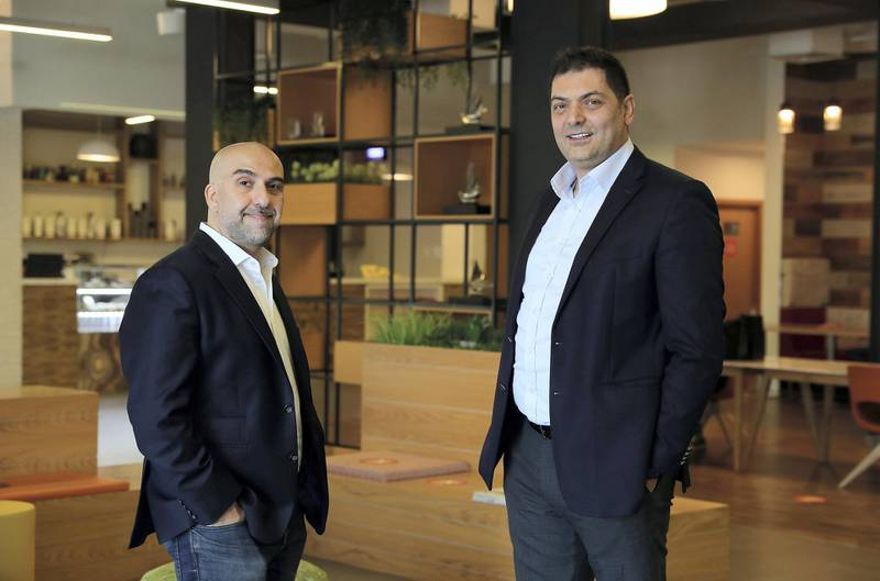 DUBAI, UNITED ARAB EMIRATES , December 17 – 2020 :- Left to Right - Jamil Zablah and Wassim Merheby co-founders of Verofax at the in5 hub in Dubai knowledge village in Dubai. ( Pawan Singh / The National ) For Business. Story by Alkesh