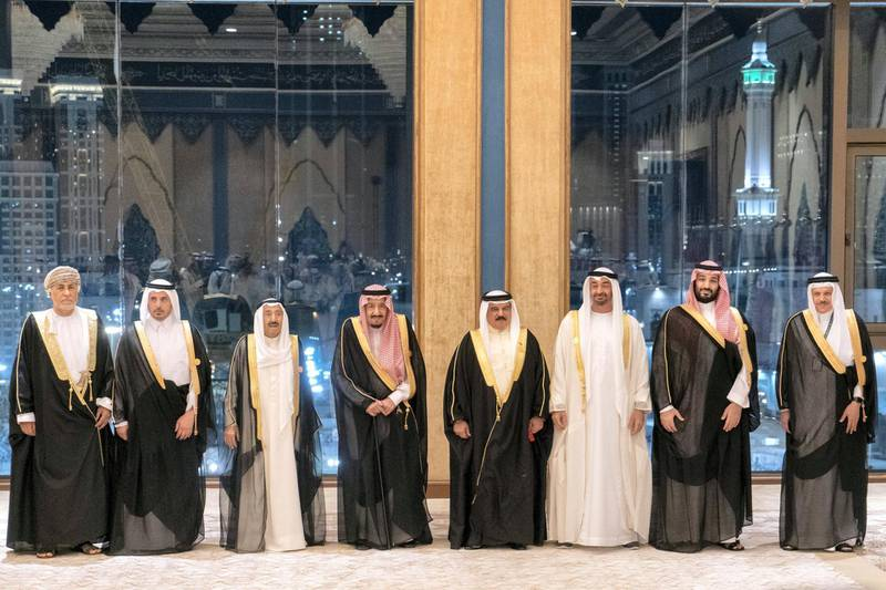 MECCA, SAUDI ARABIA - May 30, 2019: HH Sheikh Mohamed bin Zayed Al Nahyan, Crown Prince of Abu Dhabi and Deputy Supreme Commander of the UAE Armed Forces (3rd R), stands for a photograph during the UAE delegation to the Gulf Cooperation Council (GCC) emergency summit in Mecca. Seen with HE Dr Abdullatif Al Zayani, Secretary General of the Gulf Cooperation Council for the Arab States of the Gulf (GCC) (R), \  ( Rashed Al Mansoori / Ministry of Presidential Affairs ) ---