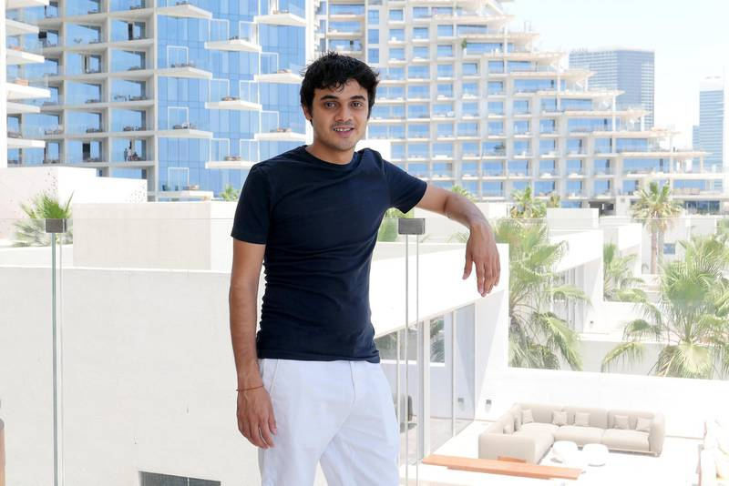 Shaswat Phumbra at his apartment in the Five Palm Jumeirah hotel on Palm Jumeirah in Dubai on May 19,2021. Pawan Singh/The National. Story by Deepthi