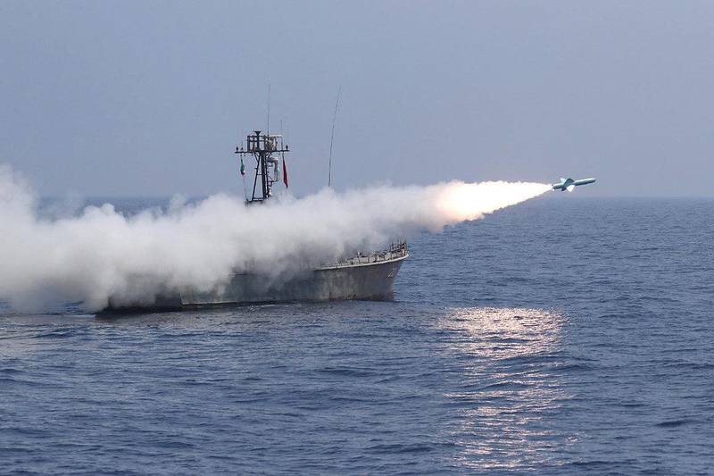 """A handout photo made available by the Iranian Army office on January 14, 2021, shows a Nasr-1 anti-ship missile fired from a warship during an Iranian navy military drill in the Gulf of Oman. (Photo by - / Iranian Army office / AFP) / === RESTRICTED TO EDITORIAL USE - MANDATORY CREDIT """"AFP PHOTO / HO / Iranian Army office"""" - NO MARKETING NO ADVERTISING CAMPAIGNS - DISTRIBUTED AS A SERVICE TO CLIENTS ==="""