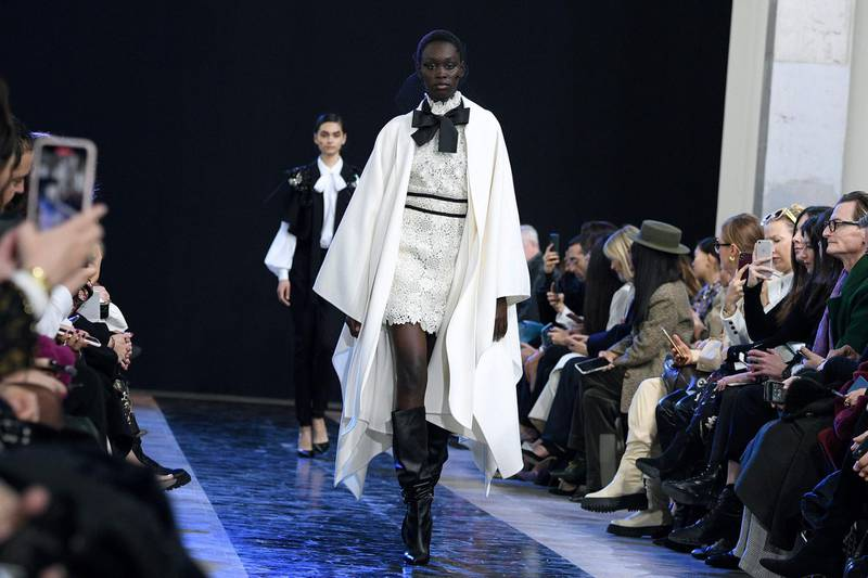 A model presents a creation by Elie Saab during the Women's Fall-Winter 2020-2021 Ready-to-Wear collection fashion show in Paris, on February 29, 2020.  / AFP / Anne-Christine POUJOULAT