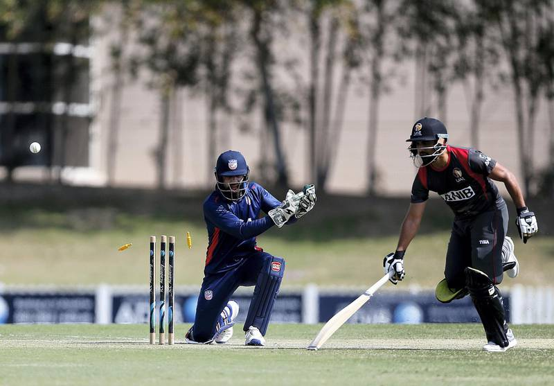 Dubai, March, 16, 2019: Shaiman Anwar of UAE in action during their match against USA in the T20 match at the ICC Academy in Dubai. Satish Kumar/ For the National / Story by Paul Radley