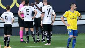 Valencia told to play on after walk-off over alleged racist insult towards Mouctar Diakhaby