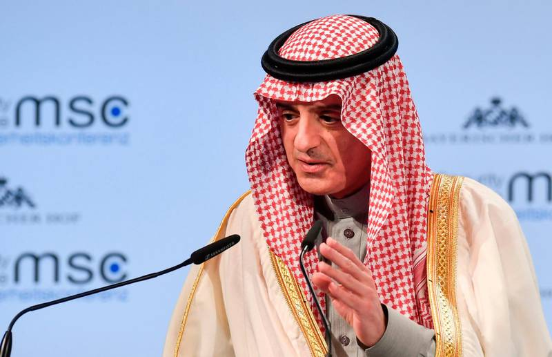 Saudi Arabia's foreign minister Adel bin Ahmed Al-Jubeir gives a speech during the Munich Security Conference on February 18, 2018 in Munich, southern Germany. / AFP PHOTO / THOMAS KIENZLE