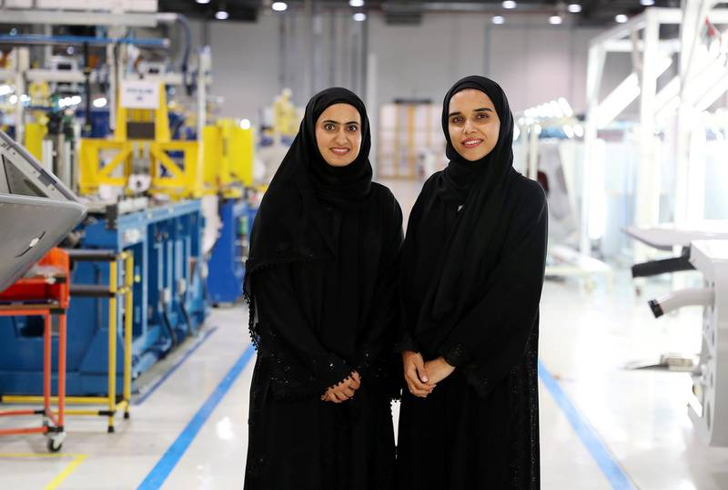 AL AIN , UNITED ARAB EMIRATES , JULY 2 – 2018 :- Left to Right - Maryam Hamad Helal Al Kuwaiti , Manufacturing Engineer and Naseefa Slayem AlAmeri , Tooling Engineer at the Strata Manufacturing facility in Al Ain. ( Pawan Singh / The National )  For News. Story by John Dennehy