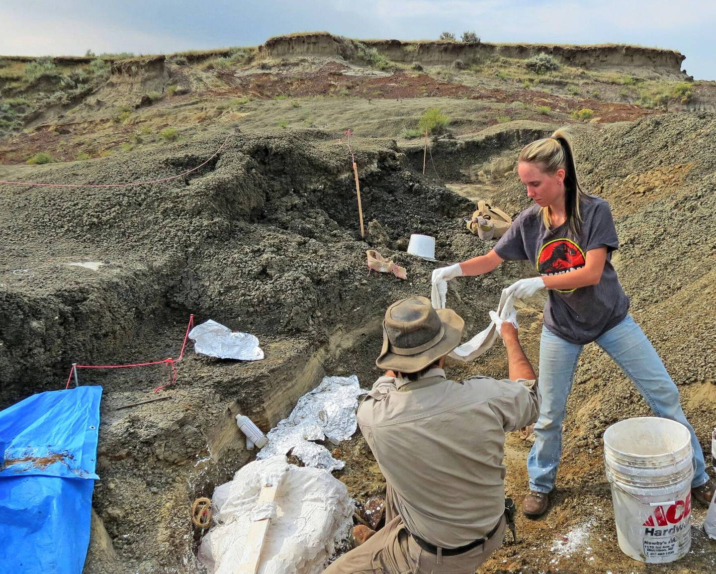 """This handout photo obtained March 30, 2019 courtesy by the University of Kansas shows Robert DePalma(L)and field assistant Kylie Ruble(R) excavate fossil carcasses from the Tanis deposit. - Scientists in the US say they have discovered the fossilized remains of a mass of creatures that died minutes after a huge asteroid slammed into the Earth 66 million years ago, sealing the fate of the dinosaurs. In a paper to be published April 1, 2019, a team of Kansas University paleontologists say they found a """"mother lode of exquisitely preserved animal and fish fossils"""" in what is now North Dakota. The asteroid's impact in what is now Mexico was the most cataclysmic event ever known to befall Earth, eradicating 75 percent of the planet's animal and plant species, extinguishing the dinosaurs and paving the way for the rise of humans. (Photo by Robert DePalma / Kansas University / AFP) / XGTY / RESTRICTED TO EDITORIAL USE - MANDATORY CREDIT """"AFP PHOTO / University of Kansas"""" - NO MARKETING NO ADVERTISING CAMPAIGNS - DISTRIBUTED AS A SERVICE TO CLIENTS --- TO GO WITH AFP STORY """"Fossil 'mother lode' records Earth-shaking asteroid's impact: study. """""""
