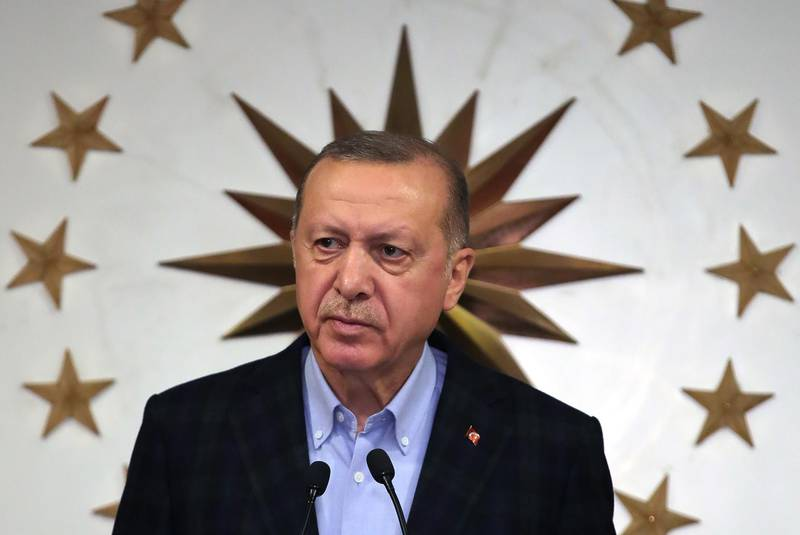 President of Turkey, Recep Tayyip Erdogan speaks during a press conference on the coronavirus (Covid-19) pandemic at Huber Palace in Istanbul, Turkey on March 27, 2020.    / AFP / TURKISH PRESIDENTIAL PRESS SERVICE / handout