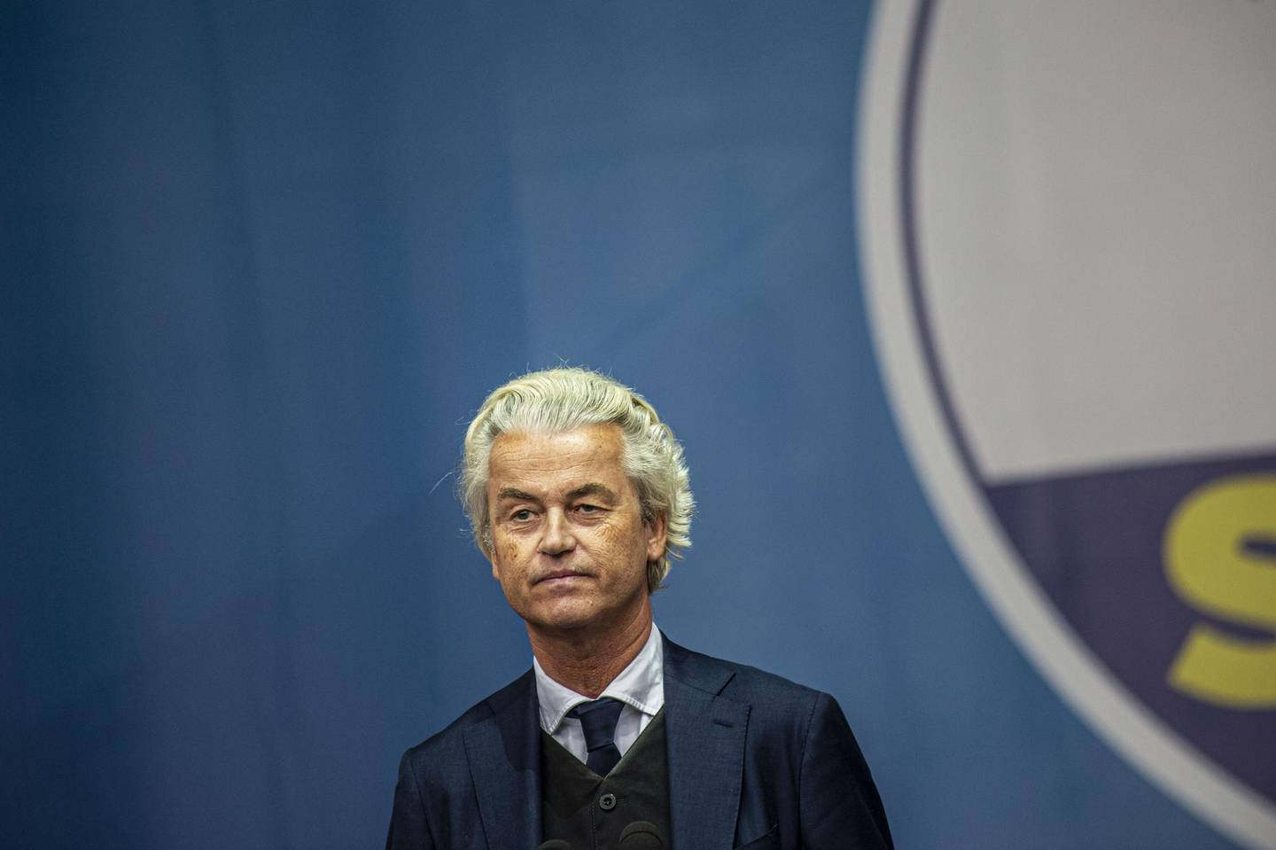 Geert Wilders, leader of the Dutch Freedom Party (PVV), pauses while speaking during a League Party campaign rally with European nationalists ahead of European Parliamentary elections, in Milan, Italy, on Saturday, May 18, 2019. Italy's Deputy Prime Minister Matteo Salvini wants to turn into a show of strength for Europe's army of nationalist leaders trying to upend the continent's politics. Photographer: Francesca Volpi/Bloomberg