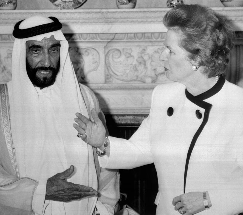 Sheikh Zayed bin Sultan Al-Nahayan with Margaret Thatcher, exchange hand signals at 10 Downing Street The President is on a four-day official visit to Britain.