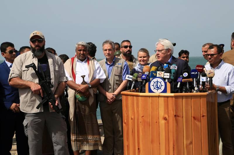 U.N. envoy to Yemen Martin Griffiths speaks to the media during a visit to the Red Sea port of Hodeidah, Yemen November 23, 2018. Picture taken November 23, 2018.  REUTERS/Abduljabbar Zeyad