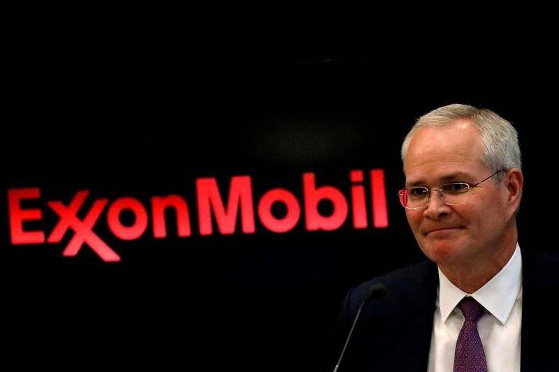 FILE PHOTO: Darren Woods, Chairman & CEO of Exxon Mobil Corporation attends a news conference at the New York Stock Exchange (NYSE) in New York, U.S., March 1, 2017. REUTERS/Brendan McDermid/File Photo
