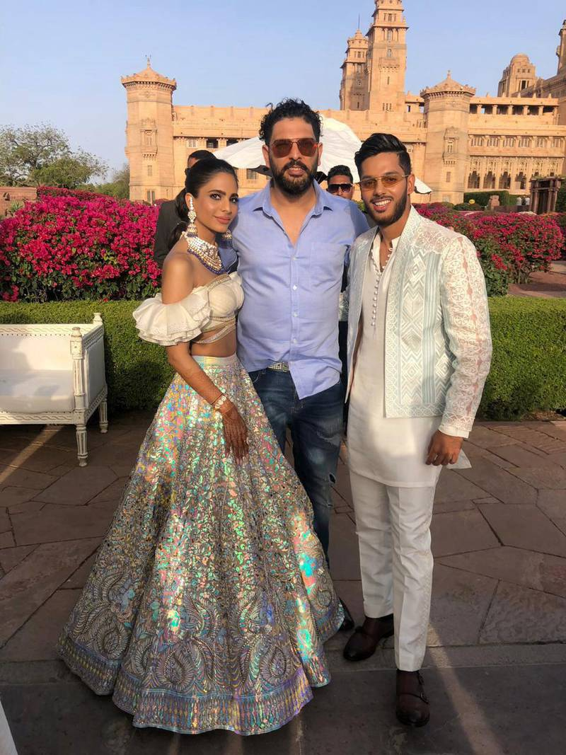 Cricketer Yuvraj Singh with UAE batsman Chirag Suri's wedding in India went ahead as planned this month, but the celebrations have been affected by the travel restrictions related to coronavirus. Pics courtesy Chirag Suri
