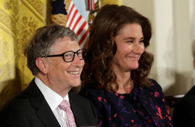 FILE PHOTO: Bill and Melinda Gates attend the Presidential Medals of Freedom ceremonies  in the East Room of the White House in Washington, U.S., November 22, 2016.    REUTERS/Yuri Gripas/File Photo