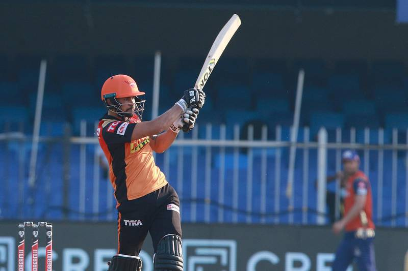 Manish Pandey of Sunrisers Hyderabad plays a shot during match 17 of season 13 of the Indian Premier League (IPL ) between the Mumbai Indians  and the Sunrisers Hyderabad held at the Sharjah Cricket Stadium, Sharjah in the United Arab Emirates on the 4th October 2020.  Photo by: Rahul Gulati  / Sportzpics for BCCI