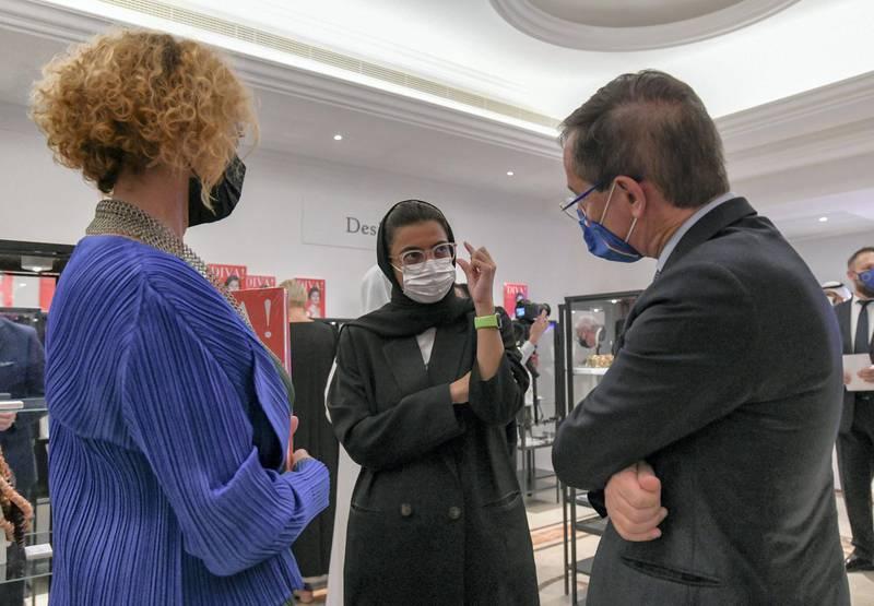 Ribbon Cutting Ceremony of DIVA-AD Noura Al Kaabi seen with Ida Zillio-Grandi, and Nicola Lener during the launch of DIVA! at the Italian Cultural Institute Abu Dhabi on June 22, 2021. Khushnum Bhandari/ The National Reporter: Farah Andrews Luxury/ Lifestyle