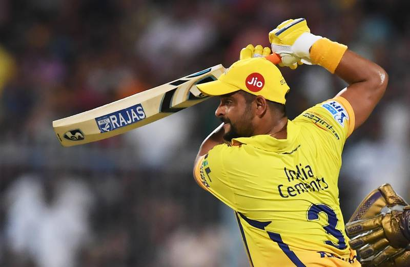 Chennai Super Kings cricketer Suresh Raina plays a shot during the 2018 Indian Premier League (IPL) Twenty20 cricket match between Kolkata Knight Riders and Chennai Super Kings  at The Eden Gardens Cricket Stadium in Kolkata on May 3, 2018. (Photo by Dibyangshu SARKAR / AFP) / ----IMAGE RESTRICTED TO EDITORIAL USE - STRICTLY NO COMMERCIAL USE----- / GETTYOUT