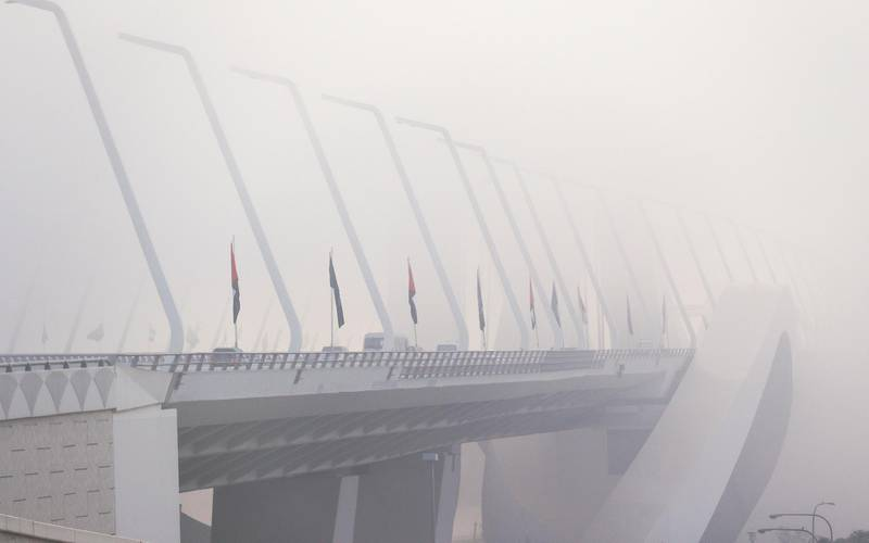 Abu Dhabi, United Arab Emirates, September 22, 2020.  The Sheikh Zayed Bridge is engulfed by fog on a Tuesday morning.Victor Besa/The NationalSection:  Standalone/Weather