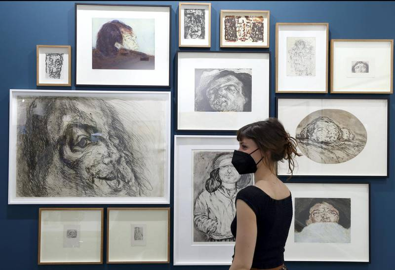 Dubai, United Arab Emirates - Reporter: Alexandra Chaves. Arts and Lifestyle. Drawings by Marwan at Meem gallery booth. Art Dubai 2021 opens at the DIFC. Tuesday, March 30th, 2021. Dubai. Chris Whiteoak / The National
