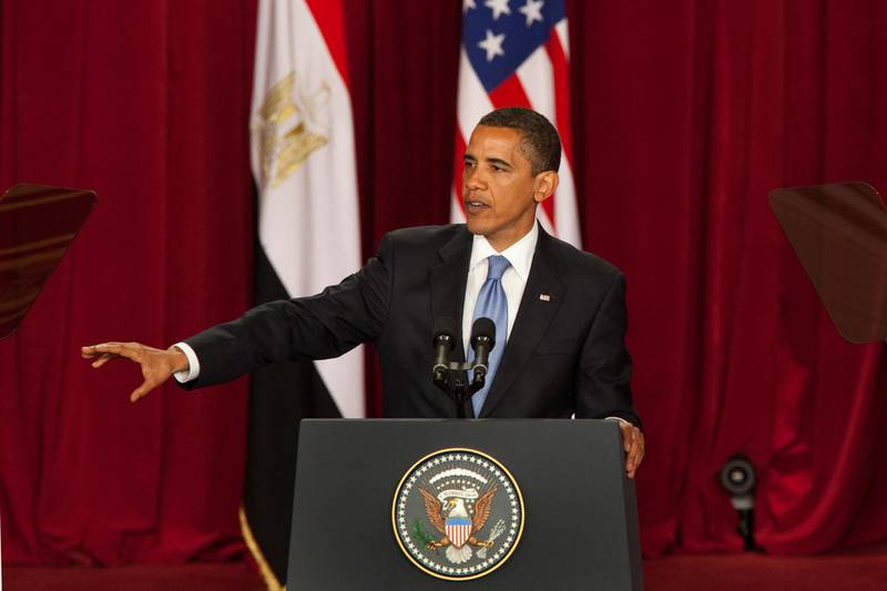 """CAIRO, EGYPT - JUNE 4:  U.S. President Barack Obama makes his key Middle East speech at  Cairo University June 4, 2009 in Cairo, Egypt. In his speech, President Obama called for a """"new beginning between the United States and Muslims"""", declaring that """"this cycle of suspicion and discord must end"""".  (Photo by Getty Images)"""