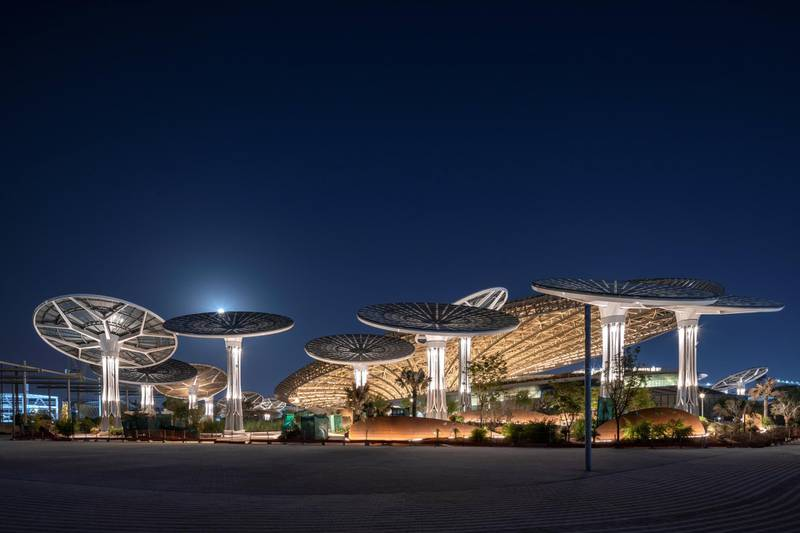DUBAI, OCTOBER 01 2020: General view of the Sustainability Pavilion at night. (Photo by Dany Eid/Expo 2020)