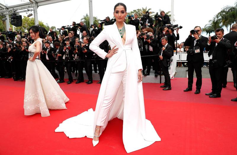 epa07589584 Indian actress Sonam Kapoor arrives for the screening of 'Once Upon A Time... In Hollywood' during the 72nd annual Cannes Film Festival, in Cannes, France, 21 May 2019. The movie is presented in the Official Competition of the festival which runs from 14 to 25 May.  EPA-EFE/IAN LANGSDON