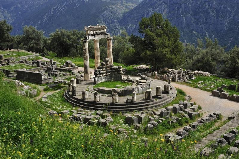 The Tholos, 380-370 BC, Sanctuary of Athena Pronaia, archaeological site of Delphi (UNESCO World Heritage Site, 1987), Greece. Ancient Greek civilization, 4th century BC. Getty Images