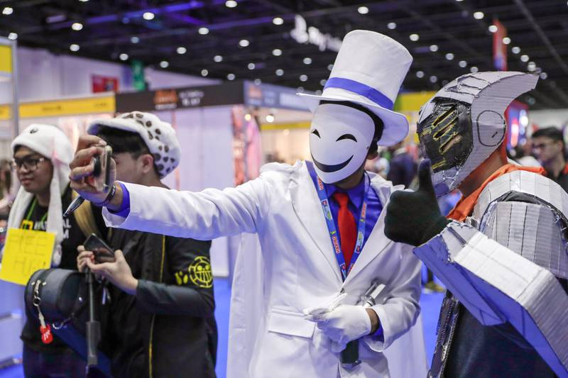 Dubai, April 12, 2019.  MEFCC day 2-Cosplay selfie-mania. Victor Besa/The National.Section:  AC  Reporter:  Chris Newbould
