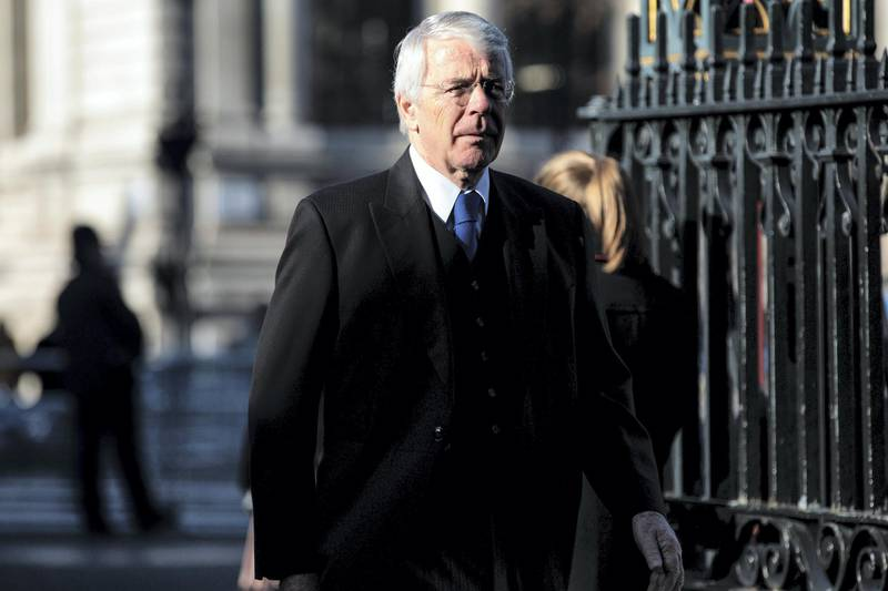 LONDON, ENGLAND - JANUARY 31: Former British Prime Minister John Major arrives for a memorial service for Conservative Peer Lord Carrington at Westminster Abbey on January 31, 2019 in London, England. Peter Carington, 6th Baron Carrington held the positions of Secretary General Of NATO, Foreign Secretary, Defence Secretary High Commissioner to Australia, First Lord of the Admiralty among others during his career that spanned seven decades. He was Foreign Minister during the Falklands War and resigned having failed to foresee the Argentinian Invasion. Educated at Eton and the Royal Military College, Sandhurst, his political career was preceded by military service where he fought in the 2nd World War for which he received a Military Cross. He died on the 9th July 2018. His son, also Lord Carrington, has replaced his father in the House of Lords. (Photo by Jack Taylor/Getty Images)