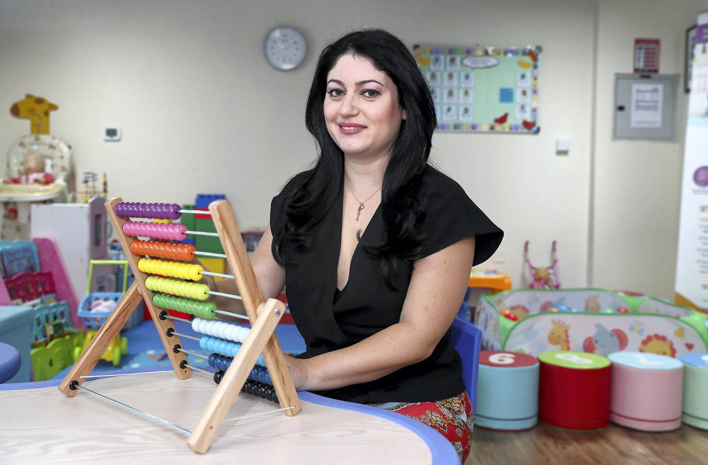 DUBAI, UNITED ARAB EMIRATES , January 11 – 2021 :- Angelica Robinson, Chief Executive of CloudNine Kids, Professional Childcare Trainer & Specialist at her office in the JLT in Dubai. (Pawan Singh / The National) For Business/Online. Story by Deepthi Nair