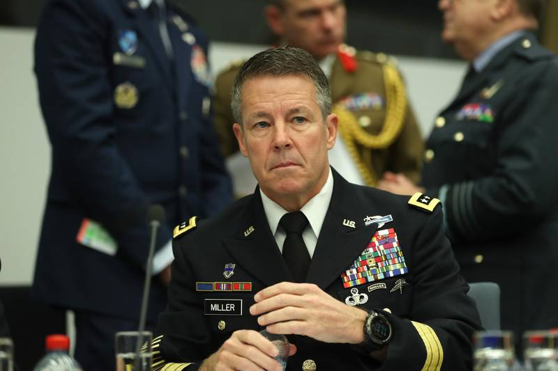 Resolute Support Mission Commander United States Army General Austin Scott Miller waits for the start a meeting of the North Atlantic Council and Resolute Support at NATO headquarters in Brussels on December 5, 2018. (Photo by Francisco Seco / POOL / AFP)