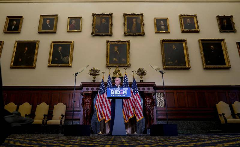 Democratic U.S. presidential candidate Joe Biden speaks about President Donald Trump's response to protests and rioting across the United States as he stands under photos of former Philadelphia mayors during an event at City Hall in Philadelphia, Pennsylvania, U.S. June 2, 2020.  REUTERS/Joshua Roberts     TPX IMAGES OF THE DAY