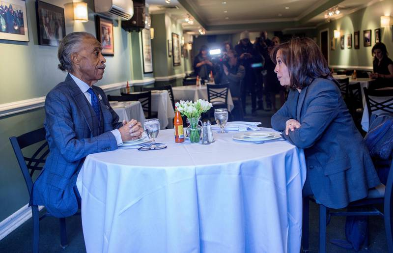 NEW YORK, NY - FEBRUARY 21: Reverend Al Sharpton meets 2020 presidential candidate Sen. Kamala Harris (D-CA) for lunch at Sylvia's restaurant on February 21, 2019 in the Harlem neighborhood of New York City. (Photo by Andrew Lichtenstein/Corbis via Getty Images)