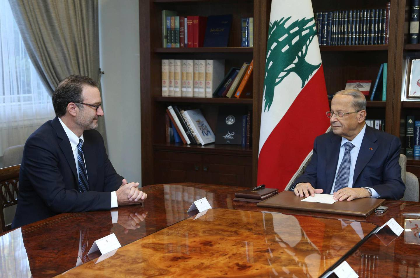 """In this photo released by Lebanon's official government photographer Dalati Nohra, Lebanese President Michel Aoun, right, meets with David Schenker, Assistant Secretary of State for Near Eastern Affairs, at the presidential palace, in Baabda east of Beirut, Lebanon, Tuesday, Sept. 10, 2019. The leader of Lebanon's militant Hezbollah group, Hassan Nasrallah, said Schenker visiting Beirut to mediate between Lebanon and Israel over a maritime border dispute is a """"friend of Israel."""" Nasrallah urged Lebanese officials to negotiate from a point of strength. (Dalati Nohra via AP)"""