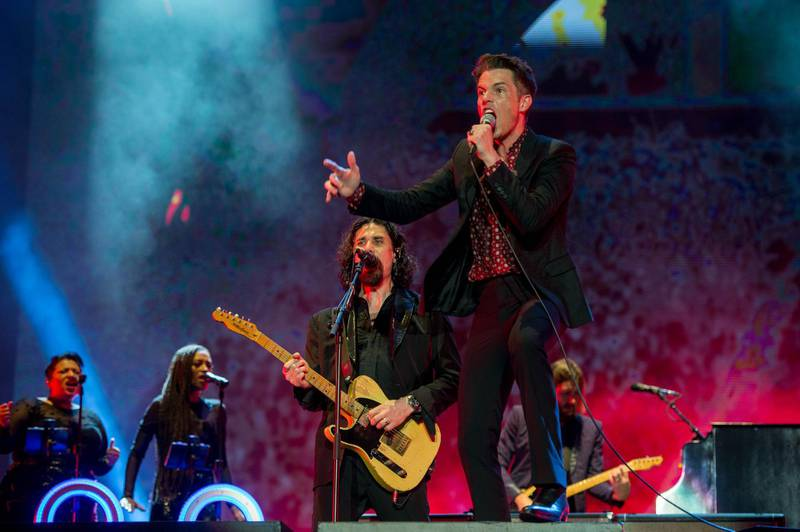 SINGAPORE - SEPTEMBER 15: The Killers perform on stage during day two of the 2018 Singapore Formula One Grand Prix at Marina Bay Street Circuit on September 15, 2018 in Singapore. Photo by Rob Loud