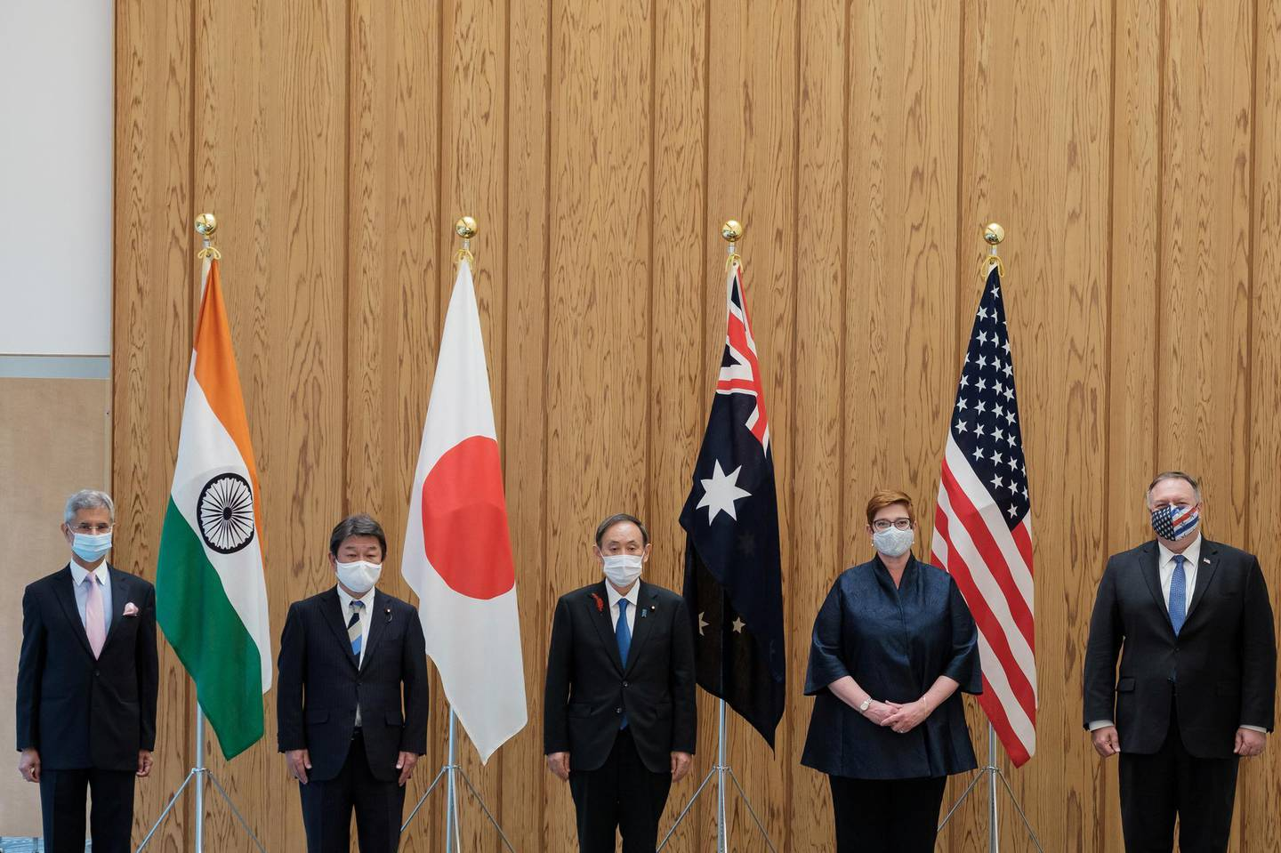 India's Foreign Minister Subrahmanyam Jaishankar, Japan's counterpart Toshimitsu Motegi, Japan's Prime Minister Yoshihide Suga, Australian Foreign Minister Marise Payne and U.S. Secretary of State Mike Pompeo pose for a picture before the meeting at the prime miniter's office in Tokyo, Japan October 6, 2020.  Nicolas Datiche/Pool via REUTERS