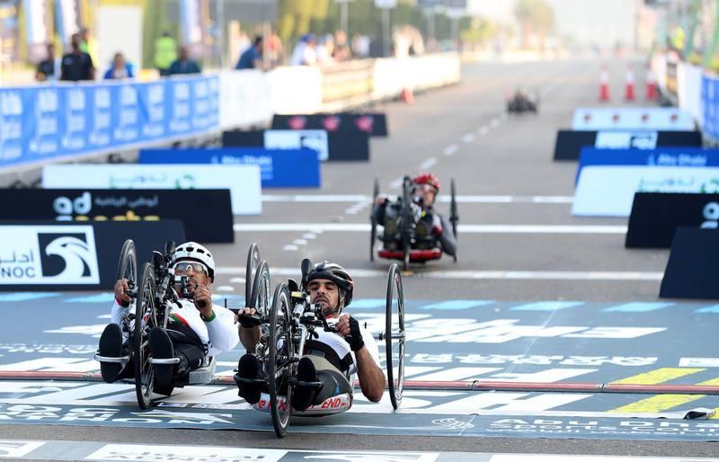 Abu Dhabi, United Arab Emirates - December 06, 2019: Winner of the wheelchair marathon Ayed Alahbabi the ADNOC Abu Dhabi marathon 2019. Friday, December 6th, 2019. Abu Dhabi. Chris Whiteoak / The National