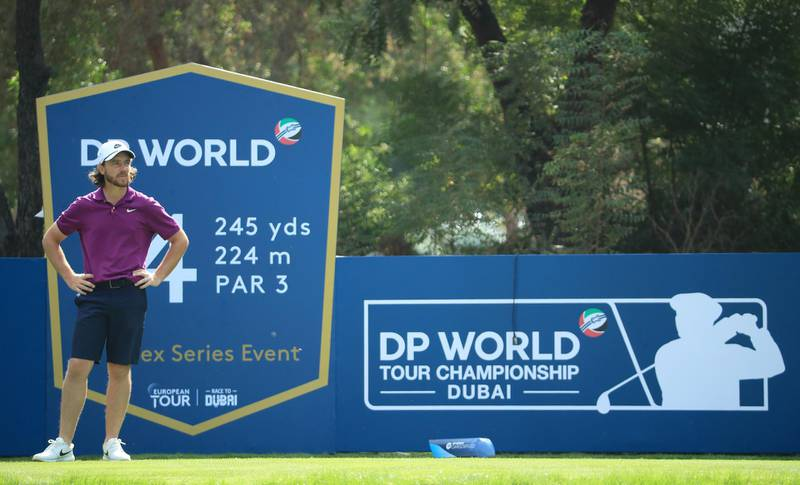 DUBAI, UNITED ARAB EMIRATES - DECEMBER 08: Tommy Fleetwood of England in action during the Pro Am event prior to the start of the DP World Tour Championship at Jumeirah Golf Estates on December 08, 2020 in Dubai, United Arab Emirates. (Photo by Andrew Redington/Getty Images)