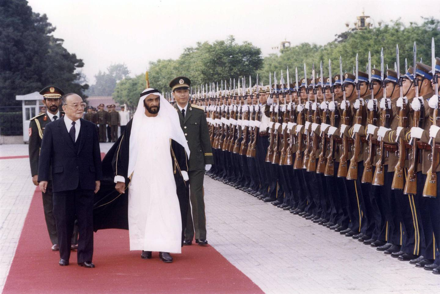 CHINA - 1990: Photographs from the Al Ittihad archive of HH Sheikh Zayed bin Sultan bin Zayed Al Nahyan President of the United Arab Emirates during an official visit to China in 1990. (Al Ittihad)