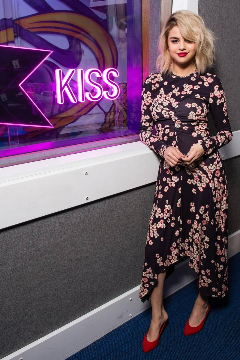 LONDON, ENGLAND - DECEMBER 04:  Selena Gomez visits Kiss FM Studio's on December 4, 2017 in London, England.  (Photo by Jeff Spicer/Getty Images)