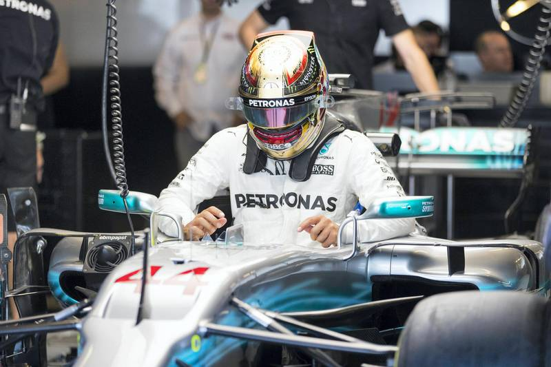 Abu Dhabi, United Arab Emirates, November 24, 2017:    Lewis HamiltonÊof Great Britain and Mercedes GP during practise for the Abu Dhabi Formula One Grand Prix at Yas Marina Circuit in Abu Dhabi on November 24, 2017. Christopher Pike / The National  Reporter: Graham Caygill Section: Sport